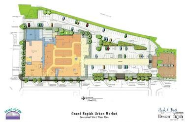 This map shows the 200 on-site parking spaces at the Downtown Market