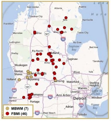 Map shows how the proposed merger of Mercantile Bank and Firstbank would affect the Michigan banking market.