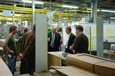 Jim Hackett visits a Steelcase plant in Germany in 2007.