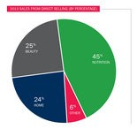 Pie chart illustrates the percentage of annual sales through Amway's direct-selling categories generated in 2013.