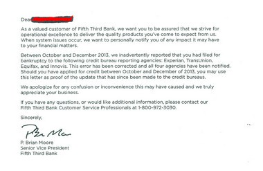 A copy of a letter a Fifth Third Bank customer in Grand Rapids says he received informing him of the bank's error.