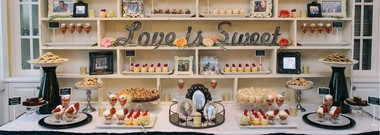 The dessert bar created by Jessica Matteson-Stubbs for Ginger Zee and Ben Aaron's wedding rehearsal dinner at Bay Harbor Golf club.