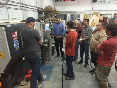 """Students watch a demonstration at a recent """"Introduction to CNC & Machining"""" class at the Geek Group's Leonard Street Labs facility at 902 Leonard Street NW"""