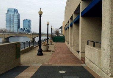 This part of the Grand River walkway next to the Amway hotel will look much different next year after Bentham's Riverfront Restaurant is converted into The Kitchen by Wolfgang Puck.