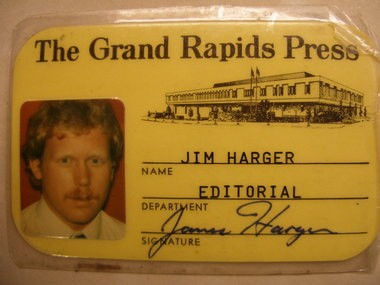 Press reporter Jim Harger's first ID badge highlights the Press building at 155 Michigan St. NW, which is being torn down this week.