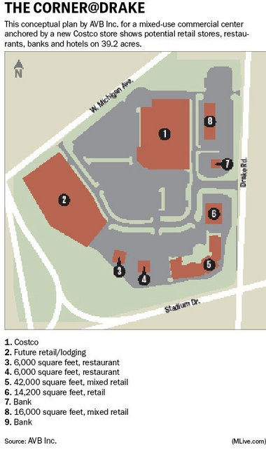 Consumers Credit Union has plans to utilize the space just off Century Avenue in this schematic, marked as No. 7, for its new regional retail center.