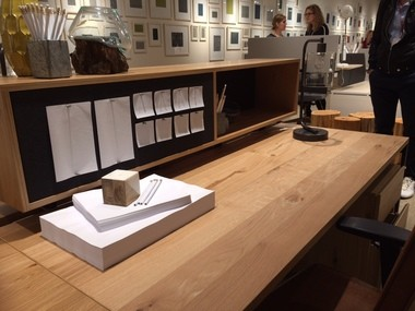 This casual styled desk in West Elm's new office furniture collection was made in West Michigan.