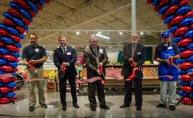 Meijer President Rick Keyes and other officials cut the red ribbon on the new Acme Township store. (Courtesy photo)