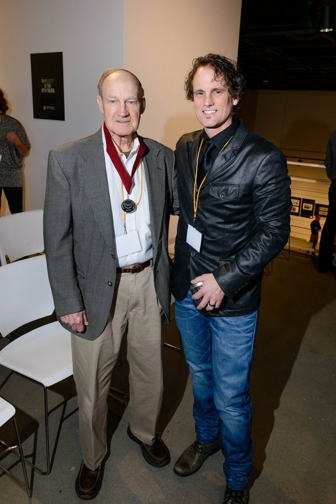 Rob Jackson, founder and creative director of creative agency, Extra Credit Projects, gave his Silver Medal award to his dad, Tom Jackson, for inspiring him to make a difference. (Photos by Dan Irving/WMAAF)