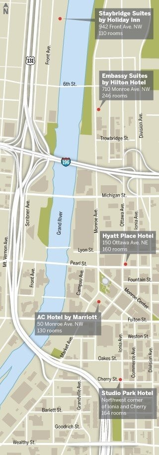Five hotels are under construction in the downtown area surrounding the DeVos Place Convention Center.