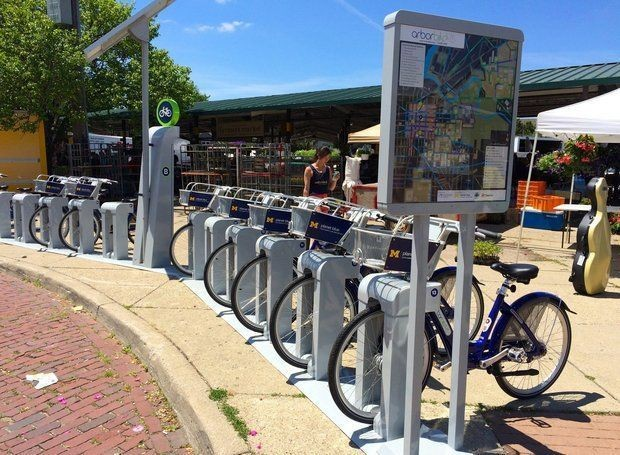 Ann Arbor has several stations around the city for its bike sharing program.
