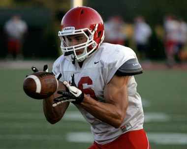 Saginaw Valley State University receiver Jeff Janis makes a catch during practice a week away from his team's first game of the season.