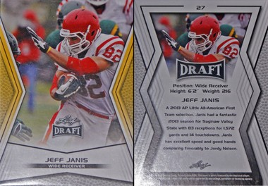 The front, left, and back of the gold parallel version of Jeff Janis' rookie card in the 2014 Leaf Draft retail set that is in stores now.