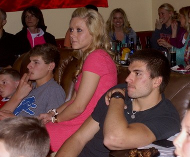 Tawas Area native Jeff Janis watches the NFL draft with friends and family in his hometown at a local bar and restaurant.