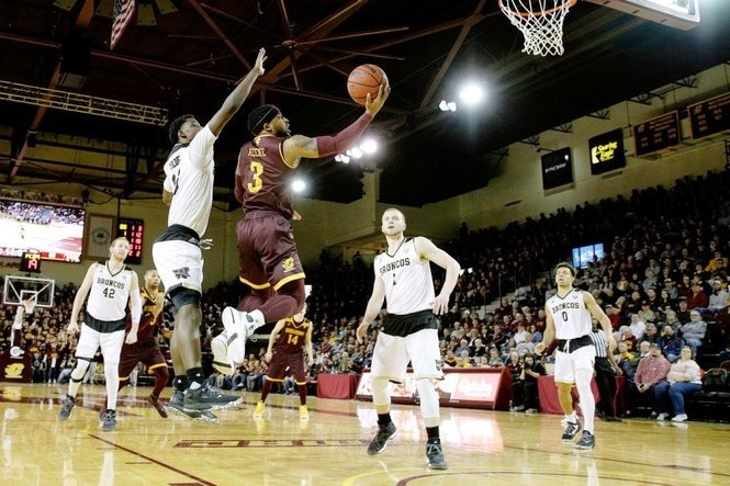 CMU's Marcus Keene slices through the WMU defense for a layup Feb. 3 at McGuirk Arena.
