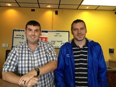 The Harbor Theater's new owners: Jason Tubergen (left), 36, and Daniel Taylor (right), 30. Both are from Holton.