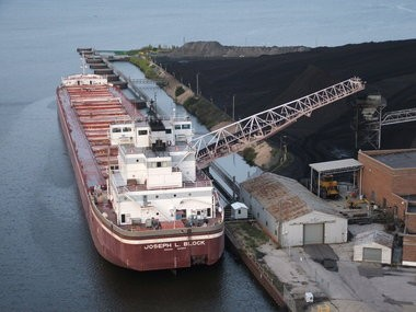 A 728-foot-long freighter is shown offloading coal at the B.C. Cobb shipping channel. The dock is a major asset for the Port of Muskegon's future, company officials and economic developers said.