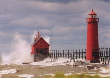 """The lighthouse structures include the 42-foot rectangular wooden structure known as the """"entrance light"""" built in 1875 and a tall cast iron conical building known as the """"inner light,"""" built in 1905."""