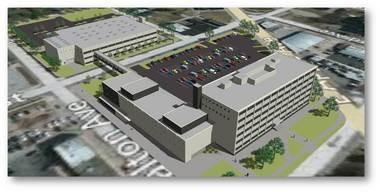 An artist's rendition from RQAW consulting Engineers & Architects shows what an addition to the Muskegon County Jail could look like. The idea of an elevated walkway shown in the picture has been scrapped in favor of a tunnel, which consultants said was safer, cheaper to build, and cheaper to maintain.