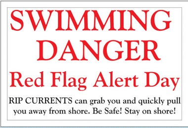 A prototype of a sign designed to warn beachgoers of dangerous swimming conditions.