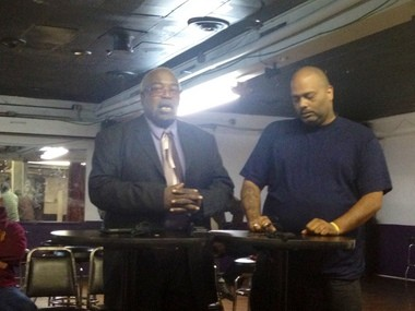 """Robert Roundtree, financial secretary for Charity Lodge #1397 in Muskegon, right, and Jethro Gay Jr., the lodge's """"exalted leader"""" speak at a press conference on Sept. 24 about Sunday's mass shooting incident."""