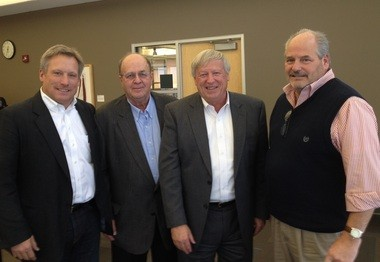 Four key promoters of a river-barge proposal for the Port of Muskegon are from left Phil Andrie of Andrie Inc., Glenn Dawson of Dawson Marine Services & Consulting, Jim Byrum of the Michigan Agri-Business Association and Ed Hogan of Port City Marine.