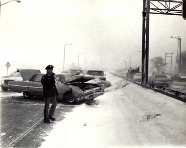 At least five inches of wind-driven snow caused this 10-car pileup on U.S. 31 near Grand Haven on Jan. 27, 1977, the first day of the Blizzard of 1977. Except for snowmobiles and 4x4s, travel would be impossible for the following three days.