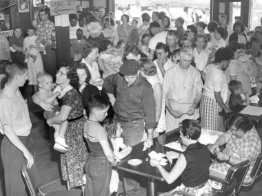 The CIO Hall on West Western Avenue was jammed at 9 a.m. on June 8, 1959, as local residents lined up to receive polio vaccinations.