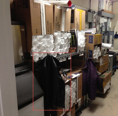 This is the backroom inside the Exxon station on Sternberg Road. This photo was taken by police the night she was allegedly abducted. Nothing seemed to be out of place, police said.