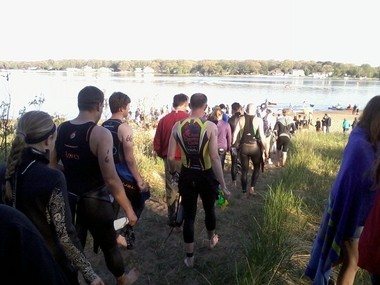Participants, along with their friends and families, make their way down to the beach for the starting point. Nearly 200 people took part in the Bear Lake Triathlon on Sunday, May 25.