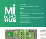 A corner of a brochure marketing a possible site for a data center in Muskegon County is shown in this photo.