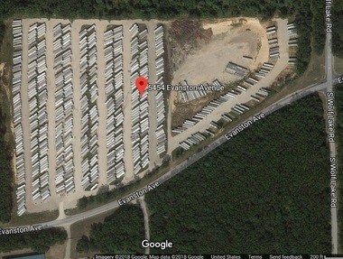 KLO Acquisitions owns a 37.6-acre parcel at 5454 Evanston Ave. in Egelston Township, at which it can store up to 818 semi-truck trailers filled with products ready for distribution. (Google Satellite Image)
