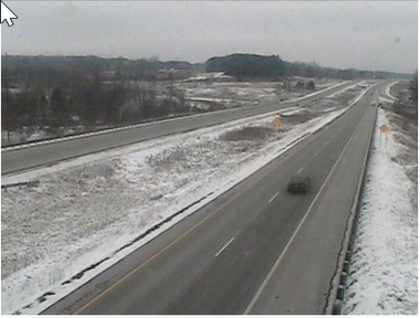 An image from a highway camera on southbound U.S. 131. The highway is currently closed due to a crash.