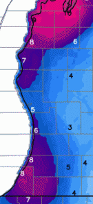 Total snowfall forecast in West Michigan through 7 p.m. Wednesday, Feb. 11, 2016. The heaviest snow will fall in the bright pink areas. (source: NOAA/weatherbell.com)