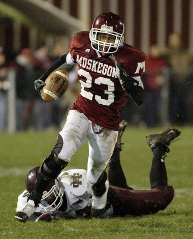 Muskegon's Ronald Johnson breaks into the clear on a run for the Big Reds in the 2006 season.