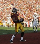 Ronald Johnson celebrates after scoring one of his two touchdowns in the 2009 Rose Bowl against Penn State.