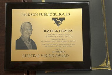 David Fleming was presented with a Lifetime Viking Award before the Jackson Public School board meeting at Jackson High School on Monday, June 2, 2014. Fleming has been the architect for the district since 1968. (J. Scott Park | MLIve.com)