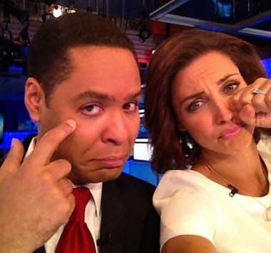 """A picture snapped of """"World News Now"""" co-anchors Rob Nelson and Paula Faris during Faris' final broadcast on Tuesday."""