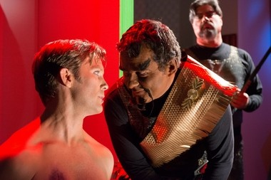 """Captain James T. Kirk (Brian Gross) is interrogated by Klingon Commander Kor (Clay Sayre) in """"Mind-Sifter,"""" the latest episode from Star Trek New Voyages."""