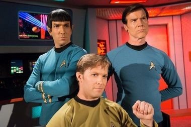 "Commander Spock (Brandon Stacy), Captain James T. Kirk (Brian Gross), and Dr. Leonard McCoy (Jeff Bond) during the shoot for ""Mind-Sifter"" written by Rick Chambers (Garth Gullekson)"
