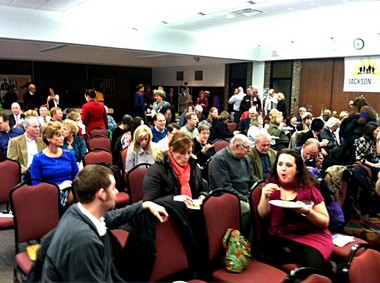 A group of more than 160 people met Wednesday at the Jackson Area Career Center to hear an update from community leaders from Jackson 2020, a group aiming to transform Jackson for the better by the year 2020.