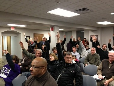 A group of medical marijuana advocates and patients filled the Jackson County Board of Commissioner meeting Tuesday Feb. 19. The county board chairman asked all those in the room who are medical marijuana advocates to raise their hands.