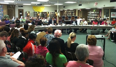 Albion Public Schools Board of Education member Mitchell Avant resigned yesterday following a controversial decision by the board to close the high school during a Tuesday meeting, pictured.