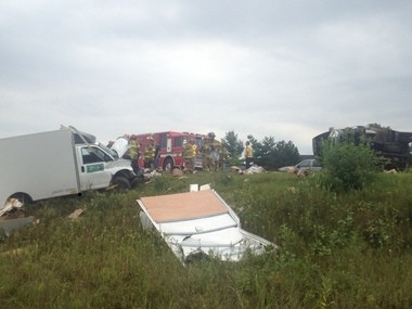 A crash on westbound I-94 on Monday afternoon involved four vehicles, including two semitrailers.