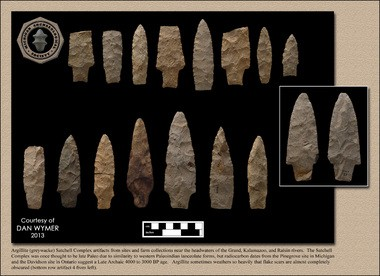 The calendar features four pages of his prehistoric finds which include stone spear points, clay pottery, stone knife blades, slate bannerstones and a slate birdstone.