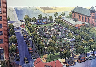 An artist's rendering of the proposed downtown Jackson park on the site of the former Consumers Energy headquarters.