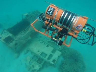 The Stockbridge Advanced Underwater Robotics Team uses its ROV in Palau to search for missing World War II aircraft and their pilots. (Courtesy Stockbridge Advanced Underwater Robotics Team/Robert Richards)