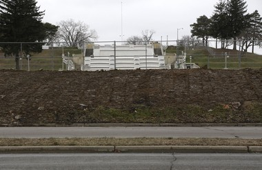 The concrete wall surrounding Cascade Falls Park has been dismantled as seen on Friday, Dec. 19, 2014. (Brian J. Smith | MLive.com)