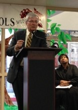 Albion College President Mauri Ditzler speaks during the Build Albion Fellows scholarship announcement event on Monday, April 20, 2015.