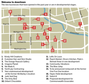 A downtown map, showing new businesses that have opened or announced plans in downtown Jackson since December 2015.